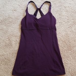 Purple Lululemon yoga shelf bra shirt with satin